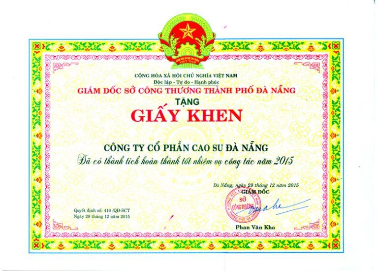 DRC nhận giấy khen của Sở Công Thương TP Đà nẵng (15/1/2016)